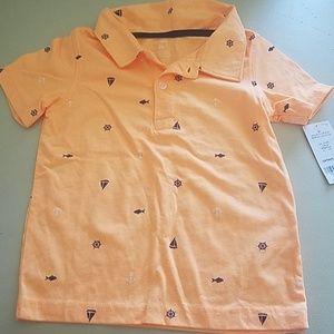 Nwt Carter's Bright Orange Nautical Polo
